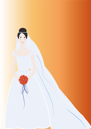 bride bouquet: Beautiful simple bride with nice background Illustration