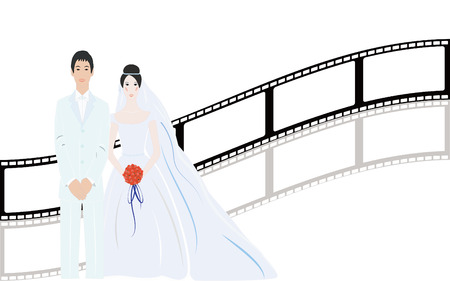 mooie achtergrond: Beautiful simple bride with nice background Stock Illustratie