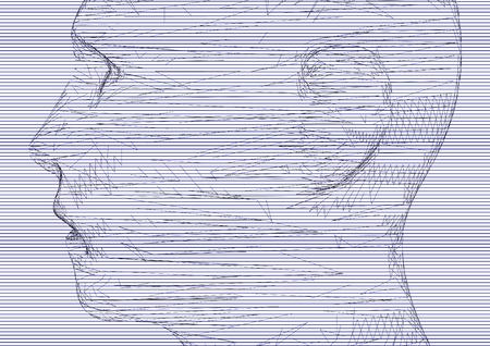 시뮬레이션: The conceptual 3D wire frame human male head