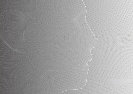 conceptual 3D wire frame human male head isolated on white background