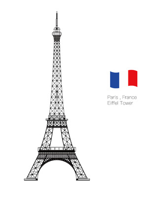 The vector Eiffel Tower set isolated with white