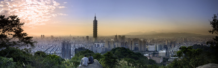 The Taipei, Taiwan city skyline at twilight.