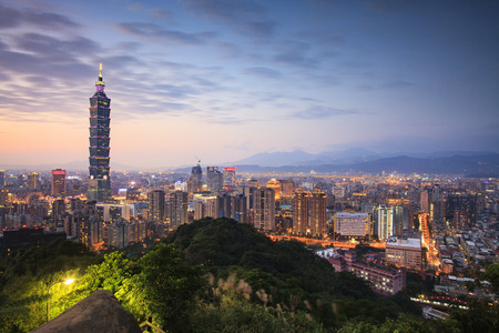 The Taipei, Taiwan city skyline at twilight.