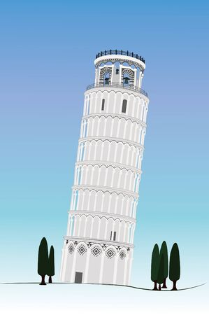 tuscan: image of Pisa tower isolated with white Illustration