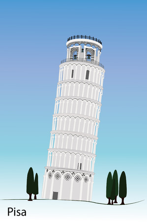 image of Pisa tower isolated with white Stock Illustratie