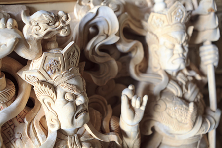 wood carving door: Wood carving Buddhist temple door public places of Buddhist worship