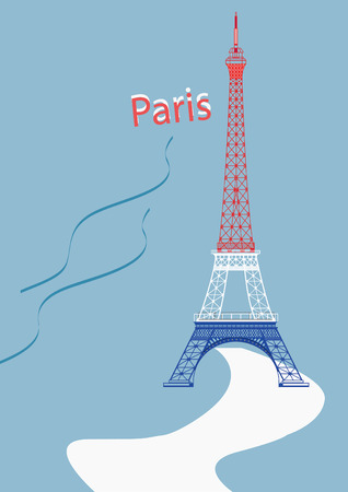The vector Eiffel Tower with nice background light blue Stock Illustratie