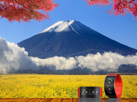 fuji mountain: The image of beautiful fuji mountain japan with nice watch Stock Photo