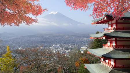 koyo: Image of Beautiful Mt. Fuji with fall colors in Japan