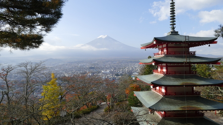 fujisan: The Beautiful of Mt. Fuji with fall colors in Japan Stock Photo