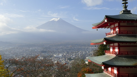 fuji san: The Beautiful of Mt. Fuji with fall colors in Japan Stock Photo