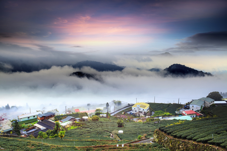 The Alishan,Chiayi County,Taiwan:Sunset clouds Banque d'images