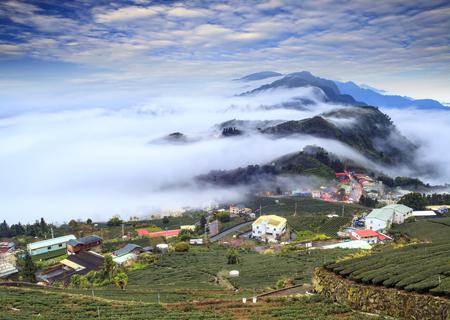 county: The Alishan,Chiayi County,Taiwan:Sunset clouds Stock Photo