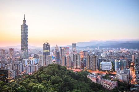 The beautiful sunset of Taipei, Taiwan city skyline Zdjęcie Seryjne
