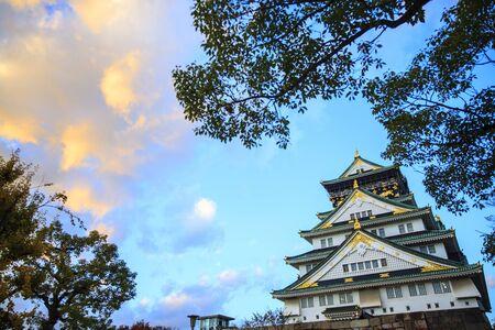 osakajo: The Osaka Castle stree view in Osaka, Japan