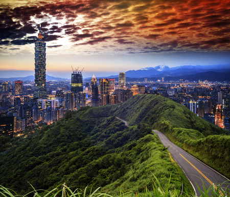high rises: The imageng of skyline of Xinyi District in downtown Taipei, Taiwan Stock Photo