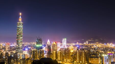 panoramic sky: The Taipei City Skyline at sunset with nice color, Taiwan Editorial