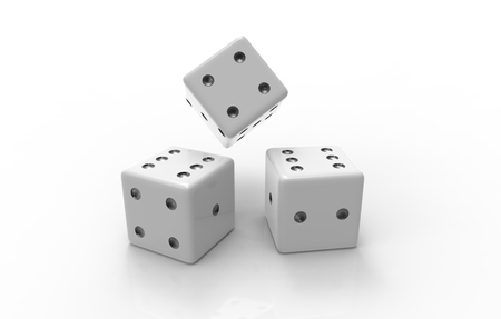 3D rendering of white dice with nice background color Stock Photo