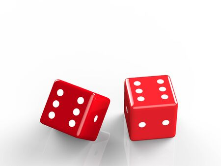 fall down: 3d rendering of casino dice, icon isolated on white druning fall down