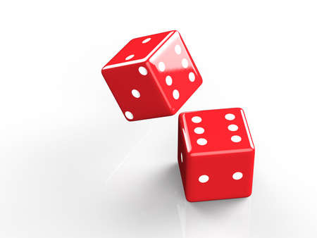 wagers: 3d rendering of casino dice, icon isolated on white druning fall down