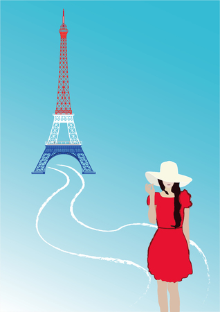 girl on Eiffel tower background