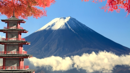 koyo: The 3d rendering Mt. Fuji with fall colors in Japan