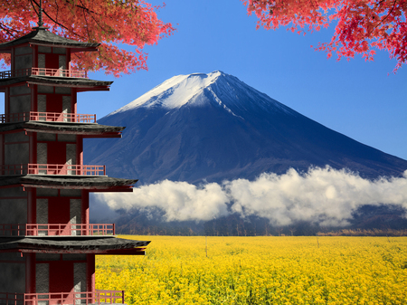 unesco: The 3d rendering Mt. Fuji with fall colors in Japan