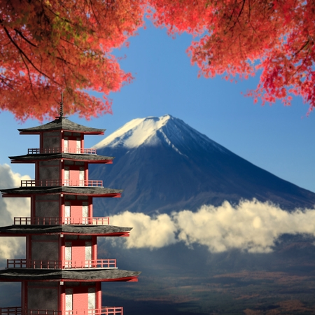 sengen: The 3d rendering Mt. Fuji with fall colors in Japan
