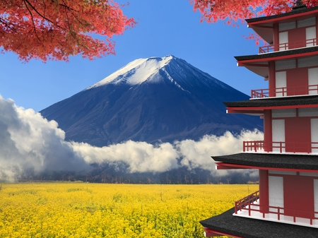 The 3d rendering Mt. Fuji with fall colors in Japan