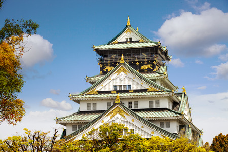 The beautiful Osaka Castle in Osaka with nice background, Japan Editorial