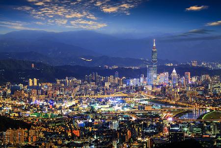 The beautiful view of Taipei city druning nice time, Taiwan