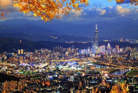 overpopulated: The beautiful view of Taipei city druning nice time, Taiwan
