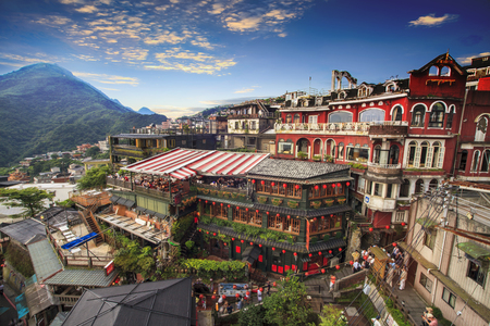 The Jiufen, Taipei, Taiwan. The meaning of the Chinese text in the picture is the red globe of Jiufen Foto de archivo