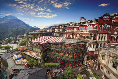 Jiufen, 타이 페이, 대만. 그림에서 중국 텍스트의 의미는 Jiufen의 붉은 지구본이다. 스톡 콘텐츠