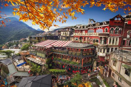 De Jiufen, Taipei, Taiwan. De betekenis van de Chinese tekst op de foto is de rode bol van Jiufen
