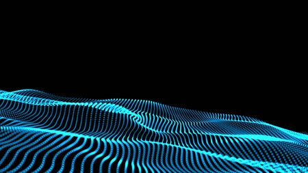 The 3d rendering of wave particles background - 3D illuminated digital wave of glowing particles Stock Photo