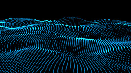 The 3d rendering of wave particles background - 3D illuminated digital wave of glowing particles Archivio Fotografico