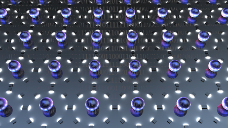 The 3d rendering of impression lot of atom with electrons