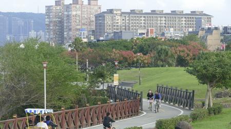 Bali, New Taipei City  Taiwan - October 25,2017: New Taipei City Peoples Riverside Bicycle Road Landscape, Taiwan