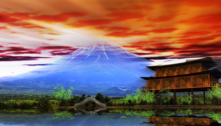 The 3d rendering of beautiful sunrise with nice mountain and temple view