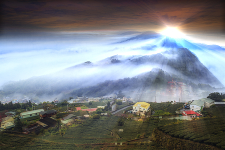 The beautiful mountain view with nice lighting and cloud