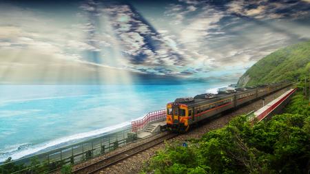 The Train approaching the Duoliang Station in Taitung, Taiwan Banco de Imagens