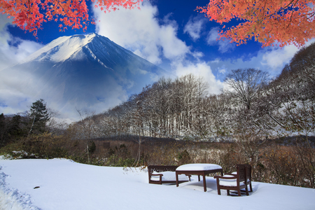 The beautiful road in mountain with nice view of snow in Spring Stock Photo