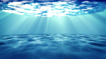 The 3D rendered of sun light rays under water