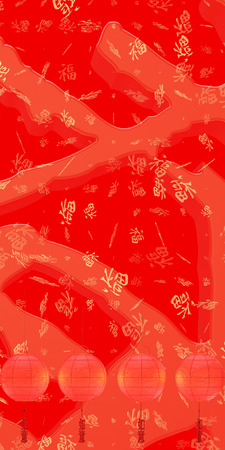 The 3d rendering happe chinese new year retro gold relieft and spring couplet, the wording mean happy new year and everything will be fine 写真素材