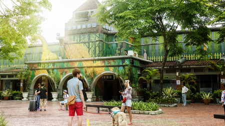 Ilan County Taiwan - June 01 2015: Jimmy Laio Square is a famous place with Jimmys painting style it close to ilan tarin statin Taiwan