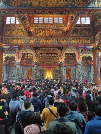 Zhulinshan Temple, Linkou District - 5 Feb, 2019: On the first day of the Chinese New Year, everyone went to the temples to seek a new year of peace