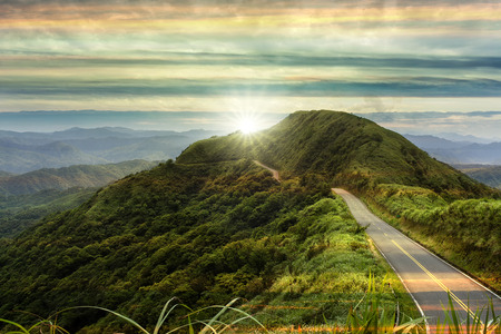 mountain road with sunrise with cloud and beautiful color
