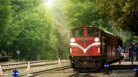 Beimen Railway Station, Chiayi - 23 Feb, 2019: Alishan Railway, has drawn a period of ups and downs of forestry stories. After the bustling, what happened is the memories of the scene. Editorial