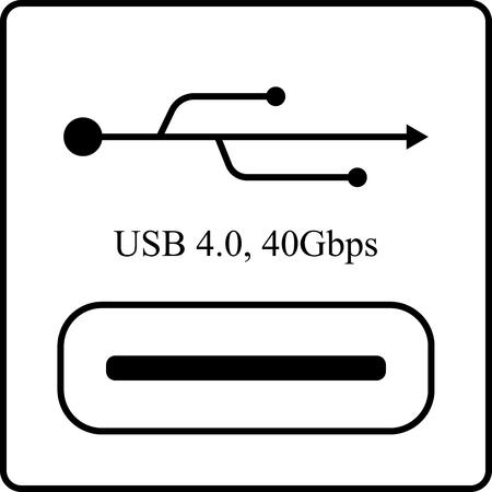 The USB 4 icon isolated on white background, EPS10 Design Ilustração